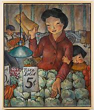 EBBA RAPP (1909-1985, WA) - UNTITLED - Casein on board composition of woman inspecting products