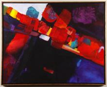LEON LOWMAN (20th Century, WA) - RED SLICE OF LIFE - Acrylic abstract composition with collage additions in wood frame, signed and d...