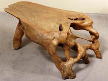 CORRECTION: FREE-FORM TABLE - Vintage natural root maple with planed top and gnarled base. Condition good with some wear marks and s...