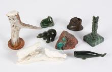 COLLECTION OF ALASKAN CARVED FIGURES - Includes 4 animal figures carved from Alaskan jade to include a bowhead whale, bear, walrus a...