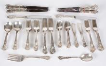 ALVIN STERLING SILVER FLATWARE SET - In 'Chateau Rose' pattern, the set of 79 pieces includes 8 dinner and 8 luncheon knives, 8 dinn.