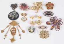 13 PCS ANTIQUE & VINTAGE JEWELRY - Including a Trifari florentine finish gold & pearl pin and earrings; an antique hand-painted tra...