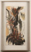 GRETTABELLE STIMSON (20th Century, WA) - TROPICANA - Tempera composition on paper of abstract vertical floral shapes
