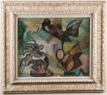 ANNA NEAGOE (1894-1986, NY) - ABSTRACT - Oil on canvas abstract composition housed in ornate frame