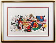 JOAN MIRO (1893-1983, Spain) - CERAMICS - Lithograph image of abstract composition, signed in the plate