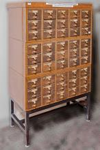 LIBRARY CARD FILE - Vintage American oak in three main sections; each with fifteen file drawers and brushed brass hardware on later ...
