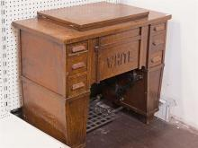 WHITE SEWING MACHINE - Antique American treadle type with Arts & Crafts style oak and oak veneer cabinetry crafted with the company ...