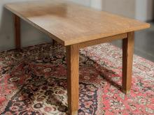 LIBRARY TABLE - American Arts & Crafts oak with rectangular top and square tapered legs