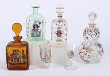 ASSORTMENT OF ANTIQUE GLASS DECANTERS & A STIEGEL TYPE BOTTLE - First is a Stiegel-type blown thin glass bottle with enameled figure...