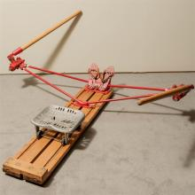 VINTAGE ROWING MACHINE - Attributed to 1940s University of Washington rowing program by rowing legend Stan Pocock (1923-2014). Prese...