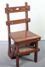 LIBRARY STEP/CHAIR - Antique American Arts & Crafts style mahogany with two horizontal back splats with pierced decorations, pseudo-...