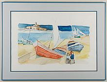 CHARLES LEVIER (1920-2003, CA/NM) WATERCOLOR ON PAPER - Signed at lower left. Watercolor painting of a beach scene with boats and fi...