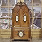 ANGELO GALICCHIO: TALL SALON ARMOIRE - Italian Baroque style custom-carved mahogany with high-relief carved crest, inset porcelain p...