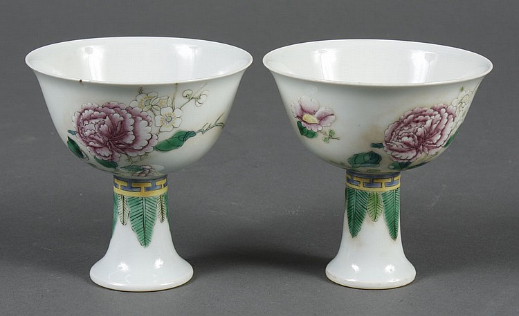 CHINESE PORCELAIN STEM CUPS - Decorated with peonies and plum blossoms with green leaves around the upper stem. Unmarked. Condition...