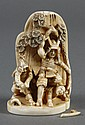 JAPANESE CARVED IVORY SAMURAI WARRIORS - Engaged in a fierce battle with one man down. Character mark to base. Condition good; sword...