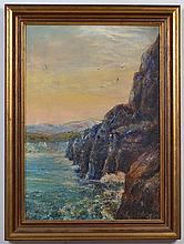 SIGNED OIL ON CANVAS - Illegibly signed, artist not identified. Painting is of a coastal scene with cliffs and mountains in the bac...