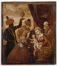 VISITATION OF THE MAGI - Oil on panel portrays three Magi bringing gifts in homage to Christ Child who is seated on Mary's lap; Jose..