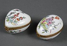 TWO LIMOGES PORCELAIN BOXES IN THE CHINESE STYLE MADE FOR TIFFANY - Egg shaped and heart shaped hinged boxes hand painted in the Chi...