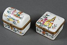 TWO LIMOGES PORCELAIN BOXES IN THE CHINESE STYLE MADE FOR TIFFANY - Square and coffer shaped hinged boxes hand painted in the Chines...