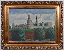 L. WILSLEFF SIGNED OIL PAINTING - The painting of a castle with trees in the foreground is on canvas. Condition good; craquelure not...
