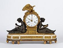 Ca.1785 LOUIS XVI MANTEL CLOCK - With ormolu, patinated bronze and white marble, after model by Francois Remond. Signed