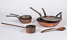 SEVEN PIECES OF VINTAGE COPPER - Includes 1 saute or frying pan, 3 sauce pans. one marked BT, and a copper pan cover with initials E...