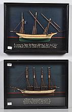 TWO FRAMED WOODEN SPANISH SHIP MODELS - In shadow box frames; each ship's model has accompanying verbage in Spanish with the name of..