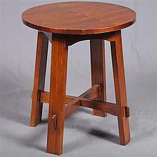 LAMP TABLE - Arts & Crafts style mahogany with round top, straight plank legs and stretcher base with mortise and tenon joinery. Con...