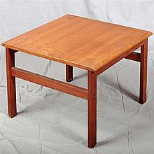 LAMP TABLE - Vintage danish teak with square design, straight legs and end stretchers. Condition good. Mid 20th century. 18