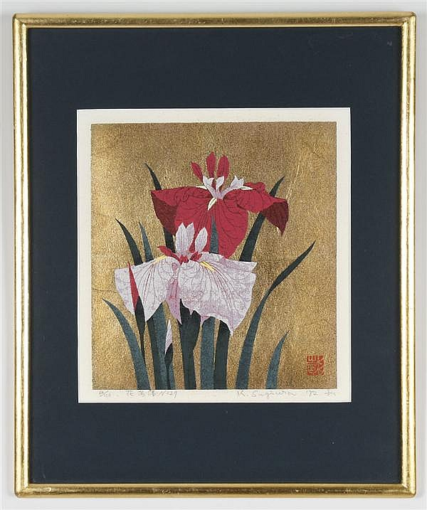KAZUTOSHI SUGIURA (1938- , Japan) SILKSCREEN ON PAPER - Pencil signed and numbered 62/100, depicts two irises in bloom, embellished....