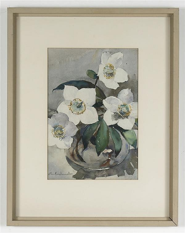 PAUL IMMEL (1896-1964, Washington/California) WATERCOLOR ON PAPER - Signed still life of white flowers in a glass vase - Noted for h...