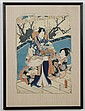 UTAGAWA KUNIAKI II (1835-1888, Japan) WOODBLOCK ON PAPER - One sheet from Triptych -