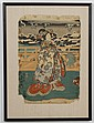 UTAGAWA TOYOKUNI III (1786-1865, Japan) WOODBLOCK ON PAPER - Winter scene with woman in floral motif kimono. Condition good to fair;...
