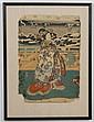 UTAGAWA TOYOKUNI III (1786-1865, Japan) WOODBLOCK ON PAPER - Winter scene with woman in floral motif kimono. Condition good to fair;...