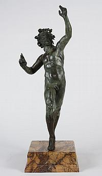 PATINATED BRONZE SCULPTURE - Italian cast verdi gris bronze sculpture after the Roman sculpture of a dancing satyr discovered in Pom...