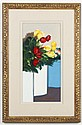 ROBERT SEABECK (1945- , WY) OIL ON CANVAS BOARD - Still life of red and yellow roses. Savageau Gallery label on reverse. Condition g...