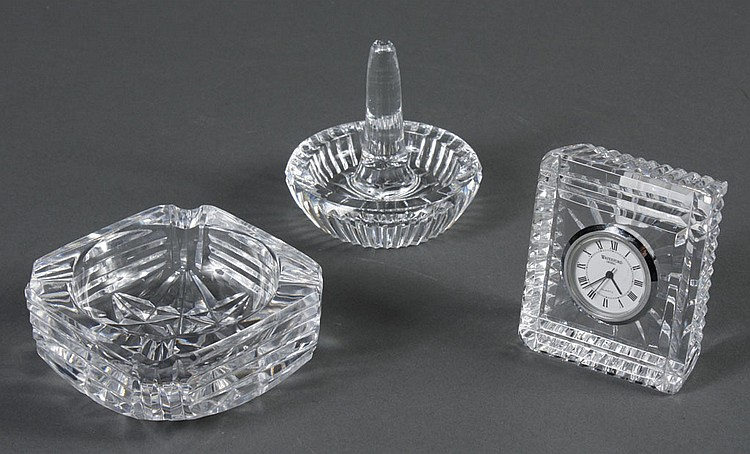 THREE WATERFORD CRYSTAL ITEMS - All are signed Waterford. Small cut crystal vanity clock; cut crystal ring tray; small square cut cr...