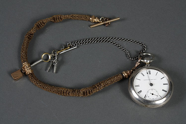 """1869 ELGIN NAT'L WATCH CO POCKET WATCH - Keywind coin silver cased pocket watch. Case is hallmarked """"Newport Coin"""" and is approx. 85.."""