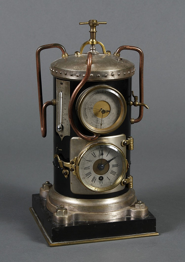 c. 1890 FRENCH VERTICAL STEAM BOILER CLOCK - A rare clock from the Industrial Series. The boiler has pipes and gauges; the 8-day clo...