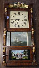 TRIPLE DECKER 8 DAY CLOCK - Upson, Merrimans and Co., Bristol, Conn, triple deck shelf clock with brass movement. Handpainted face w...