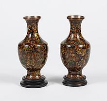 PAIR SMALL CLOISONNE VASES - Likely Japanese with a foliate pattern of chrysanthemums and foliage in autumn colors of