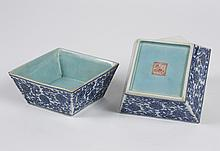 PAIR OF CHINESE PORCELAIN SQUARE BRUSH WASHERS - B/W foliate design with turquoise interior and gold edging on rim. Seal mark on bas...