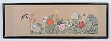 CHINESE WATERCOLOR AND INK ON FABRIC - Painting is signed at lower left, featuring butterflies and chrysanthemums. Condition good. L...