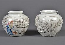 PAIR CHINESE PORCELAIN SNOW SCENE JARS - A woman with a child on her back and accompanied by a dog are walking in a snow covered sce...