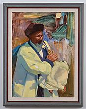 KAYE GUERIN-MANN: OIL ON CANVAS - Signed at lower right, titled ''Khira Poultry Vendor,'' the painting shows a man holding a chicke
