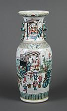 TALL FAMILLE ROSE CHINESE EXPORT VASE - Polychrome, depicting scenes of village life including weaving, ploughing, and harvesting. A...