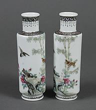 PAIR CHINESE PORCELAIN SMALL VASES - Cylindrical shape with a short neck; decorated with songbirds amidst bamboo and flowers. Diaper...