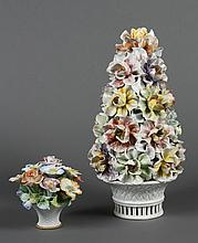 TWO PIECES DECORATIVE ITALIAN PORCELAIN - Both in flower form; one being a pinnacle shape with layered flowers and a pierced base; m...