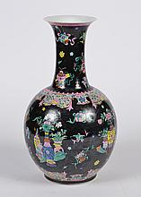 CHINESE PORCELAIN NOIR VASE - Having a globular body rising to an elongated neck and slightly flared rim. Decorated with a variety o...