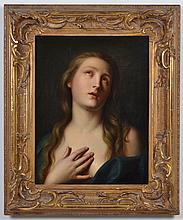ALBERT KRAFFT (Germany) OIL ON CANVAS - Portrait of a young woman with long hair (possibly the Virgin Mary)